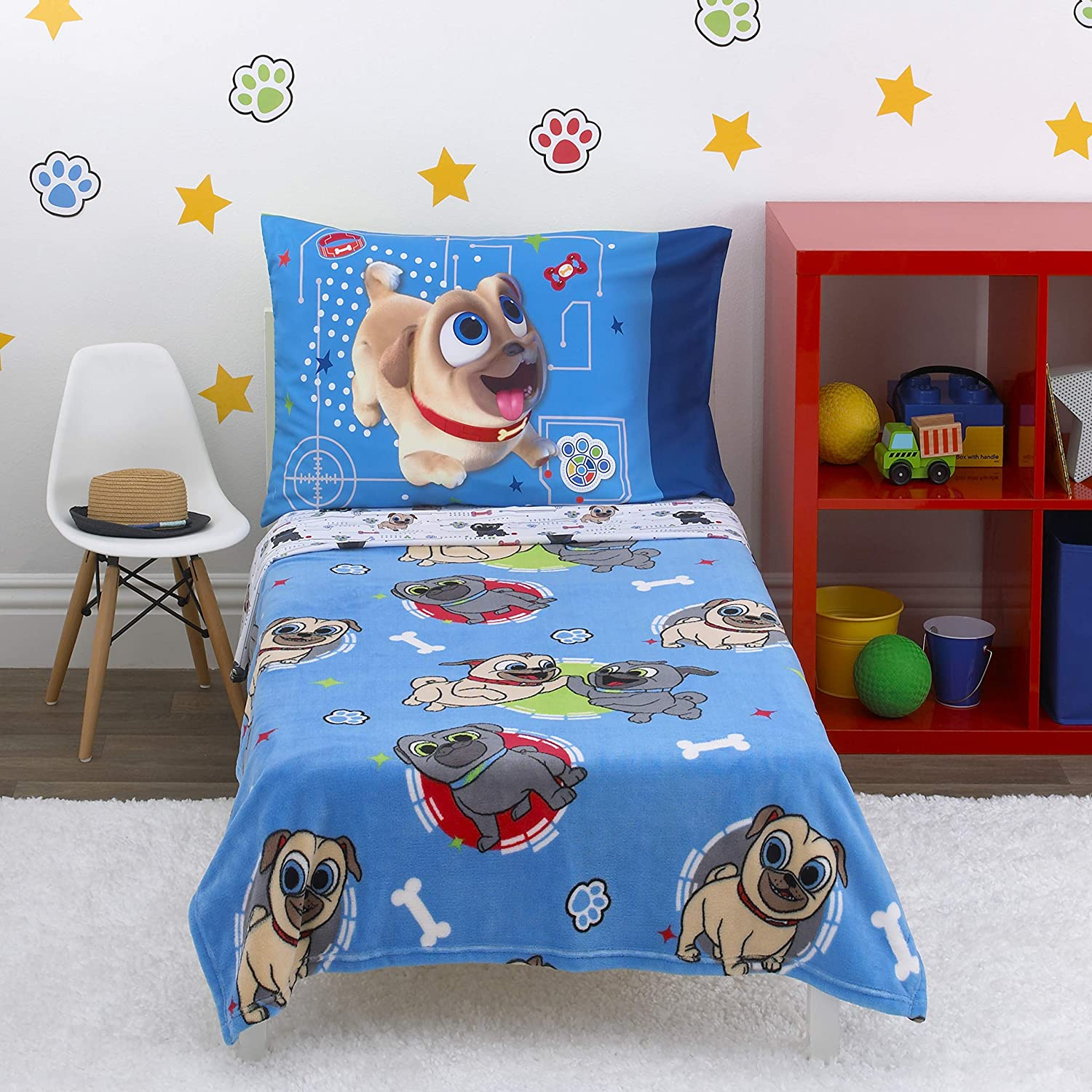Disney Puppy Dog Pals - Puppy Pal Fun - 4 Piece Toddler Bed Set