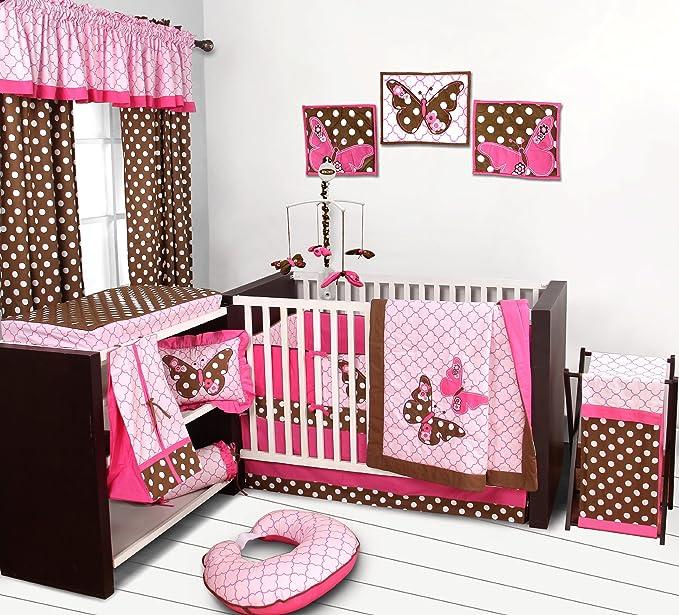 Butterflies pink/chocolate 10 pc Crib Set Feeding