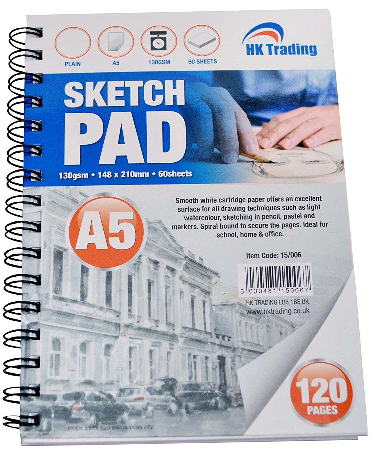 3 x A5 DRAWING SKETCH PAD - 130gsm 60 sheets perforated thick cartridge paper - FREE DELIVERY