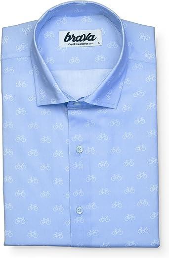 Brava Fabrics | Camisa Hombre Manga Larga Estampada | Camisa Azul para Hombre | Camisa Casual Regular Fit | 100% Algodón | Modelo Fixed Gear Rider Blue Edition | Talla: Amazon.es: Ropa y accesorios