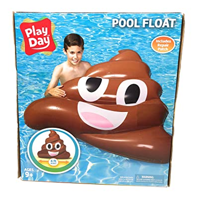 Play Day Pool Float Poop Emoji 4 ft Wide Includes Repair Patch 9+ Ages: Toys & Games
