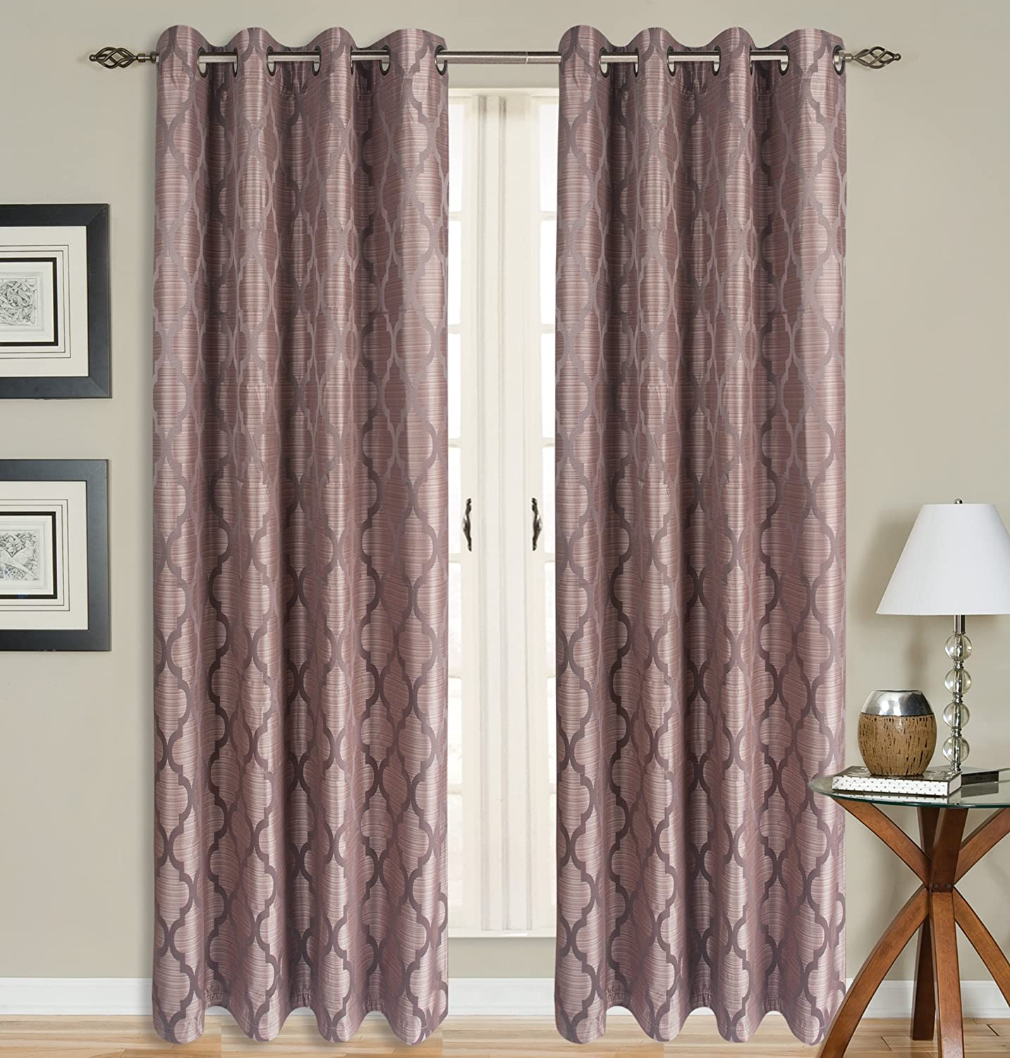All American Collection New 2 Panel Curtain Set Moroccan Trellis Woven Blackout with 8 Grommets Brown