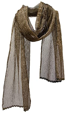 b70c991e68790 Image Unavailable. Image not available for. Color: Sheer Metallic Mesh Net  Extra Long Scarf ...