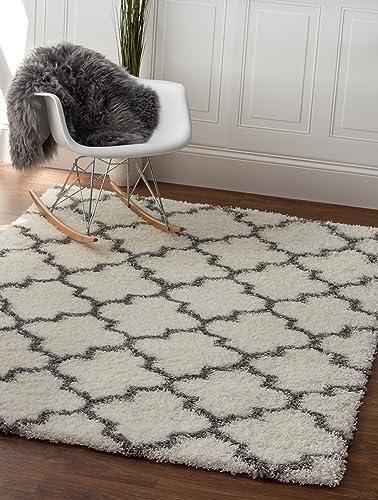 Super Area Rugs Trellis Fluffy 8×10 Shag Rug, 7 10 x 9 10 , White Gray