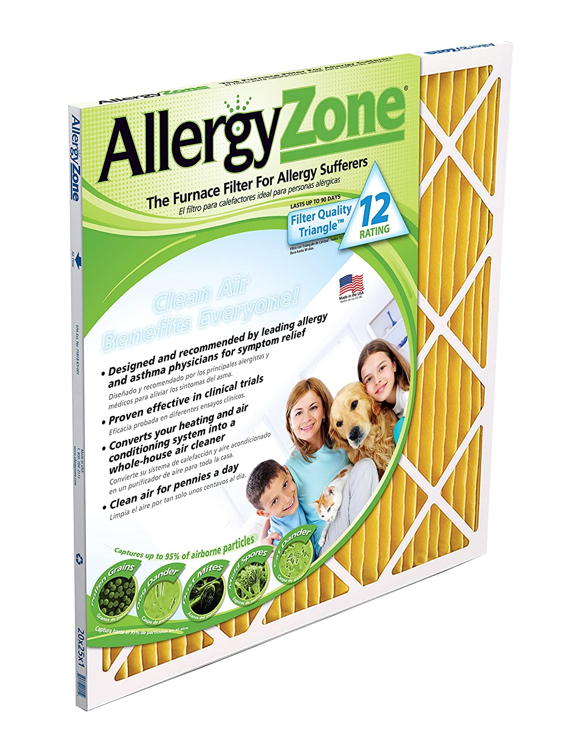 Best furnace air filters for allergies - Amazon Com Allergyzone Az14251 Air Filter For Allergy Sufferers 14 X 25 X 1 Home Kitchen