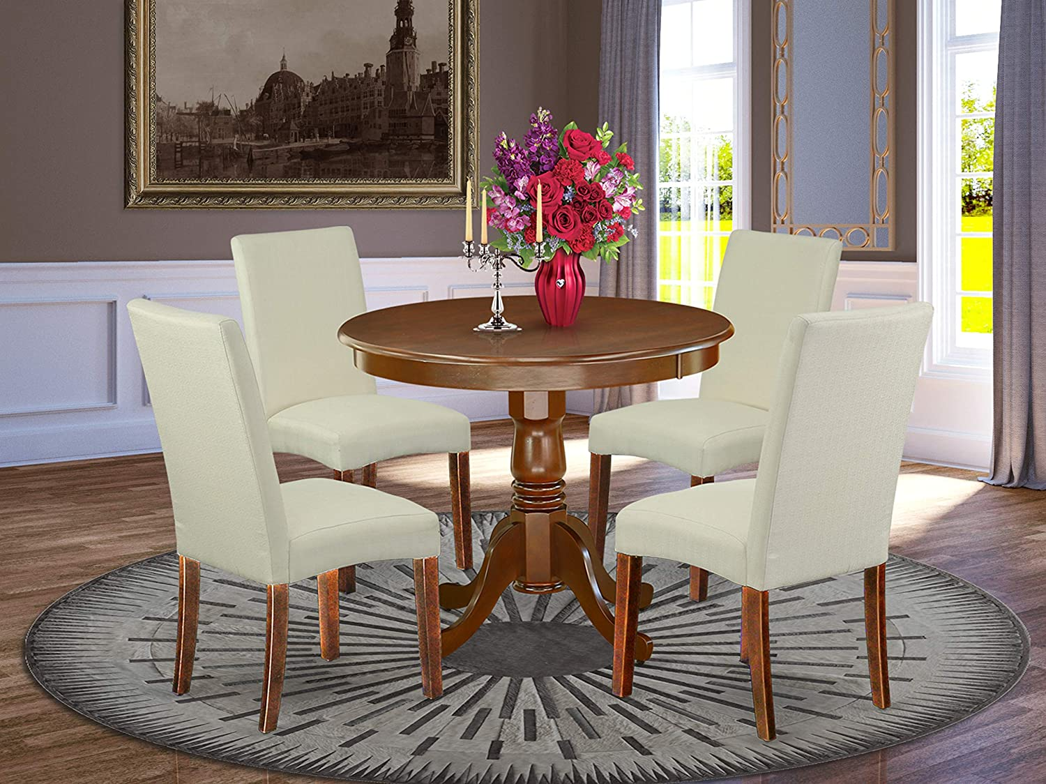 "East West Furniture 5Pc Round 36"" Table And 4 Parson Chair With Mahogany Finish Leg And Linen Fabric-Cream Color"