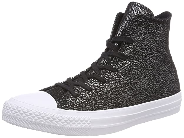 Amazon.com | Converse Chuck Taylorr All Star Tipped Metallic Hi Black/Silver/White Womens Classic Shoes | Fashion Sneakers