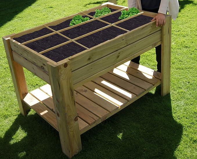AD servicios Mesa de Cultivo Huerto Urbano con Bandeja y separadores 80x120x80 cm: Amazon.es: Jardín