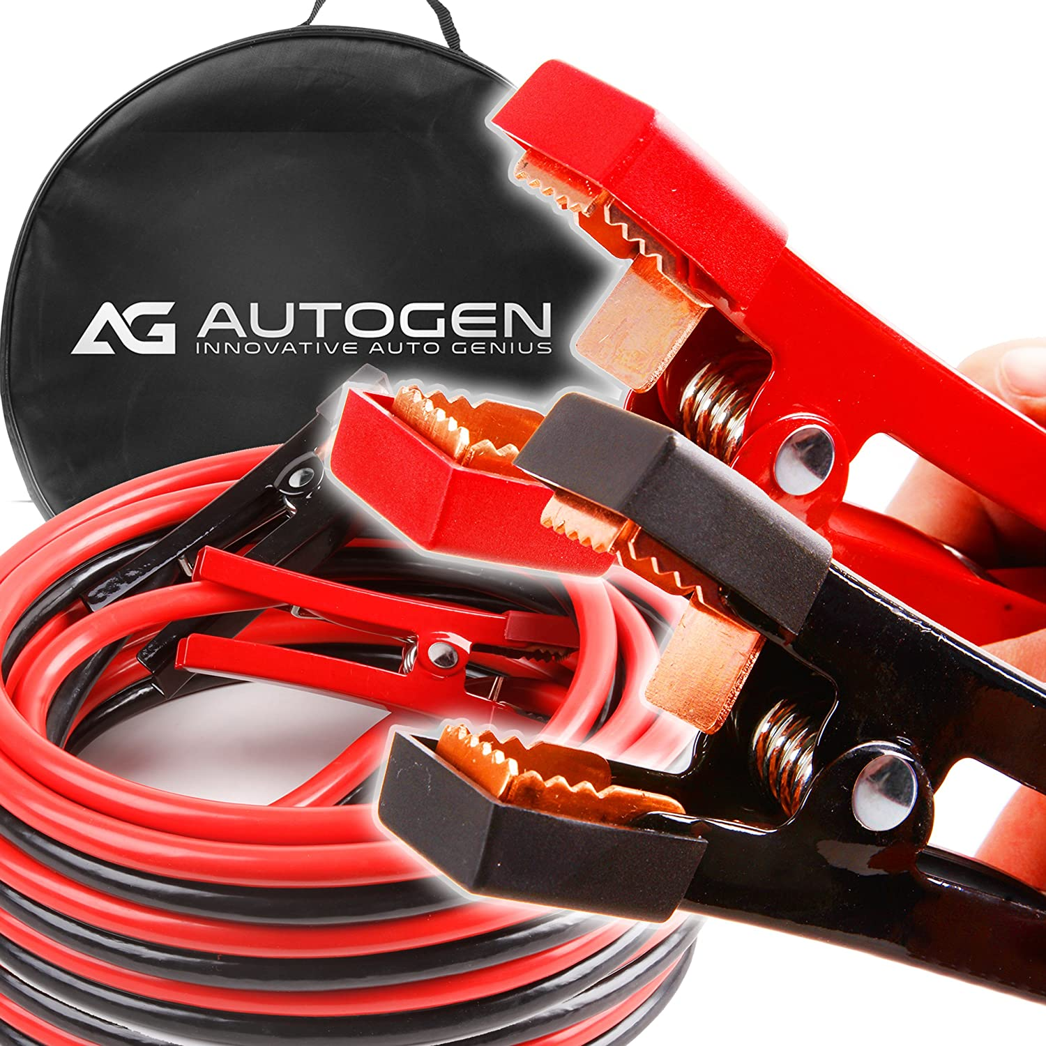 Heavy Duty Jumper Cables 1 Gauge X 25ft 900a Booster Innovative Wiring Strongest And Longest With 100 Copper Jaws By Autogen Automotive