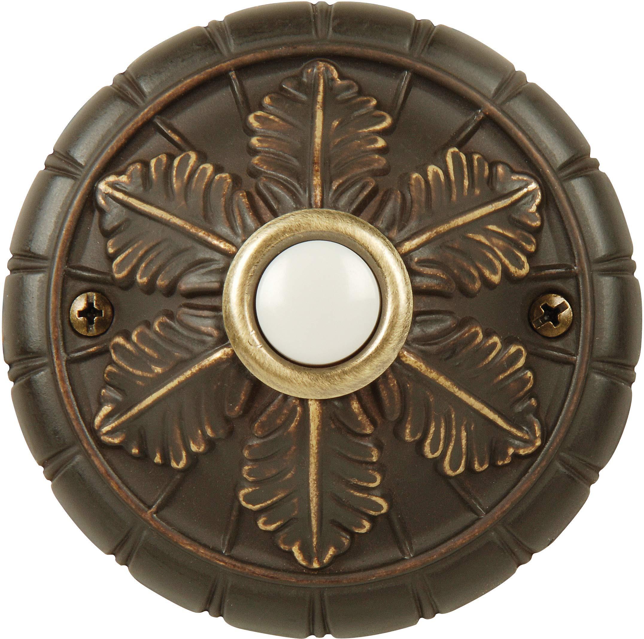 Craftmade BSMED-AZ Designer Surface Mount Round Lighted Doorbell LED Push Button, Antique Bronze (3'' Dia)