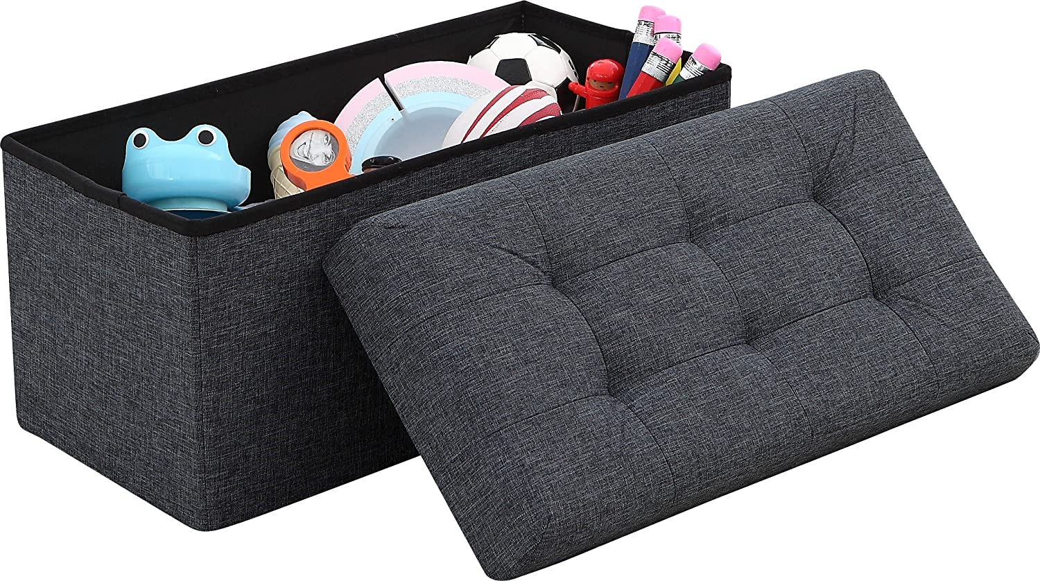 "Ornavo Home Foldable Tufted Linen Large Storage Ottoman Bench Foot Rest Stool/Seat - 15"" x 30"" x 15"" (Black)"