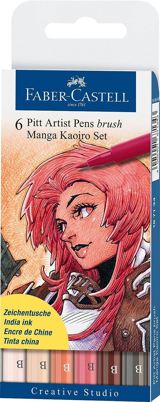 Faber-Castell - 6 rotuladores para dibujo Manga Pitt Kaoiro