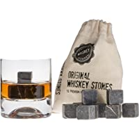 12 pcs Premium Whisky Stones Cubes Whiskey Beverage%100 Natural Marble Stone Gift Set - in a Free Carrying Pouch