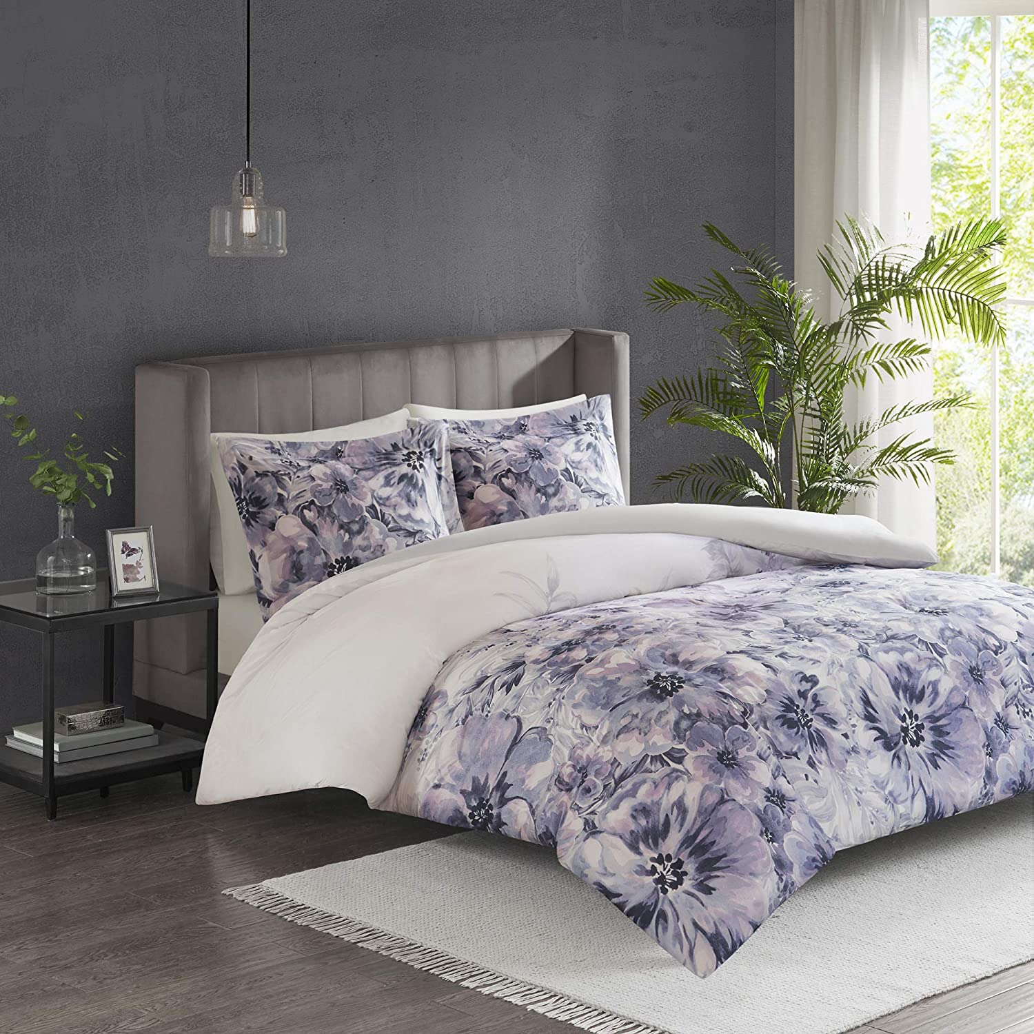 Madison Park Enza Duvet Cover Reversible Solid 100% Cotton Percale Face Corner Ties Floral Botanical Flower Pattern Water-Color Printed Ultra Soft All Season Bedding-Sets, Full/Queen, Purple