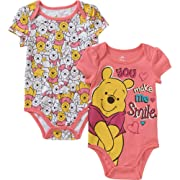 Disney Winnie the Pooh Baby Girls 2 Pack Bodysuit Dress Up Outfit (6-9 Months)