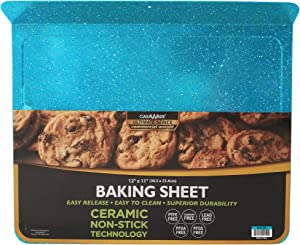 casaWare Toaster Oven 12 x 11-Inch Baking Sheet with a 1.5-Inch Handle (Blue Granite)