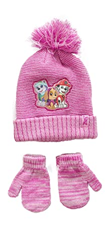 Official Licensed Kids Paw Patrol Pink Winter Bobble Hat Mittens Set Age 2-6 Years