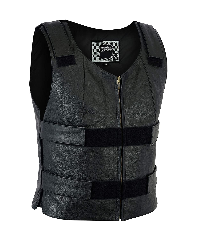 HIGHWAY LEATHER Women Motorcycle Black Bulletproof Replica Leather Vest