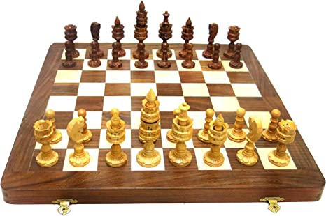 Ages Behind Wooden Chess 15.5 with Wooden Lotus Coins Home Decor Gift