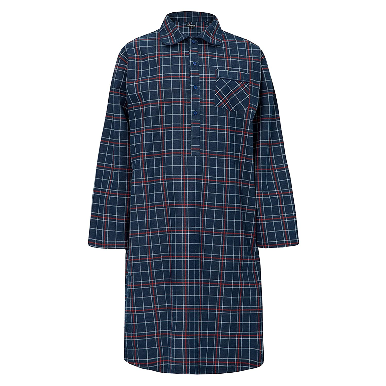 INSIGNIA Mens Nightshirt Gown Stripe Check 100% Cotton Brushed Winter Warm (Medium, Navy Check)