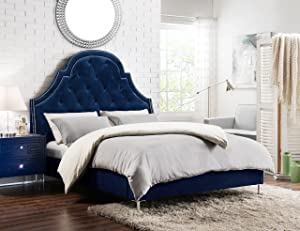 Iconic Home Napoleon Bed Frame with Wingback Headboard Velvet Upholstered Button Tufted Silver Nail Head Trim Stainless Steel Metal Legs Modern Transitional Blue, Queen, Navy