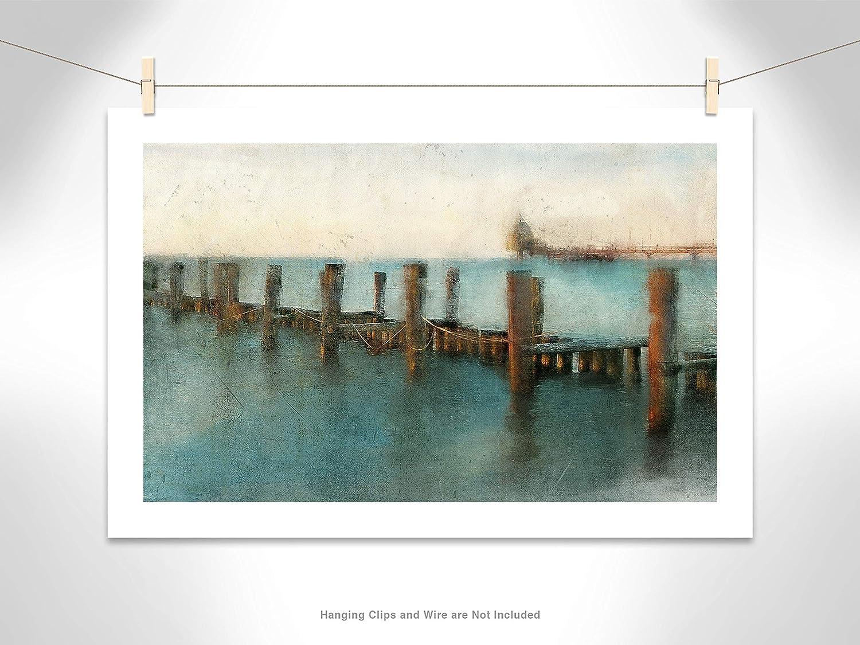 Casa Fine Arts A Day at the Pier Rustic Coastal Dock Ocean Landscape Archival Art Print 34.5 x 24.5 Brushed Gunmetal Frame
