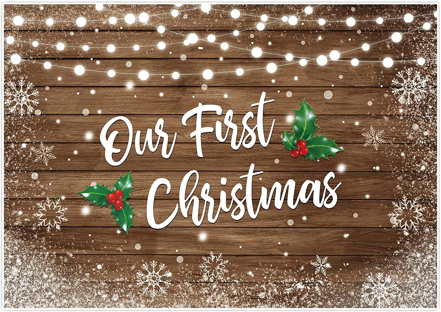 Allenjoy 7x5ft Our First Christmas Together 2020 Backdrop Snowflake Rustic Brown Wood Couple Engaged New Home Holiday Newborn 1st Baby Party Background Winter Wonderland Party Decor Photo Booth Props