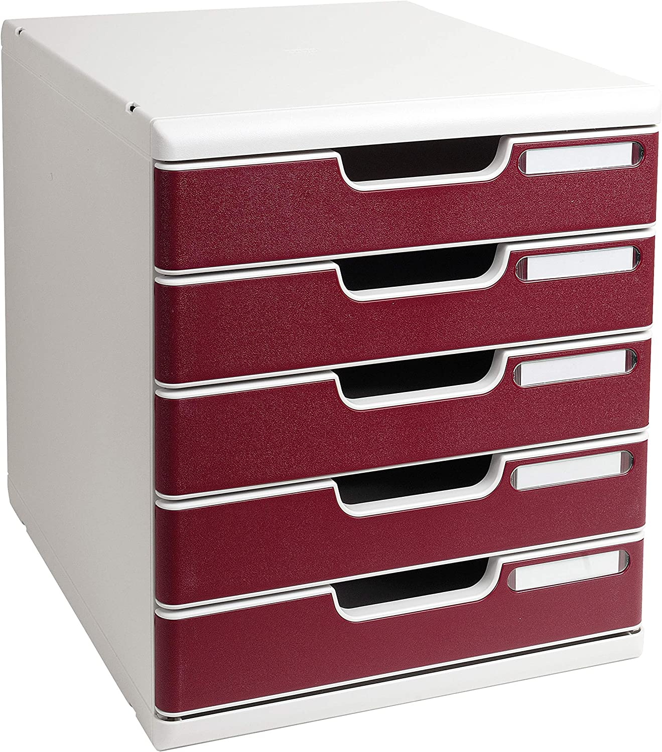 Exacompta 350 x 288 x 320 mm Modulo A4 Office, 5 Closed Drawers, Light Grey/Burgundy