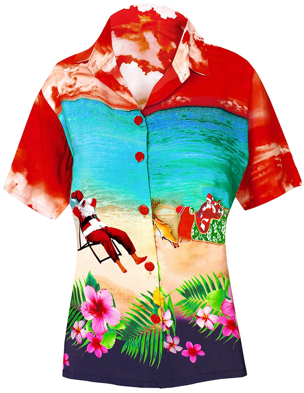 LA LEELA Hawaiian Blouse | Women Beach Shirt | Beach Party Top | Short Sleeve | Summer Casual | Christmas | X-Mas | Santa Claus | Plus Size Loose Aloha | XS - 3XL | Likre | Digital DRT149