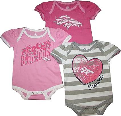 Denver Broncos Girls Pink 3pc Creeper  quot Field Goal quot  Bodysuit Infant  ... db398f010
