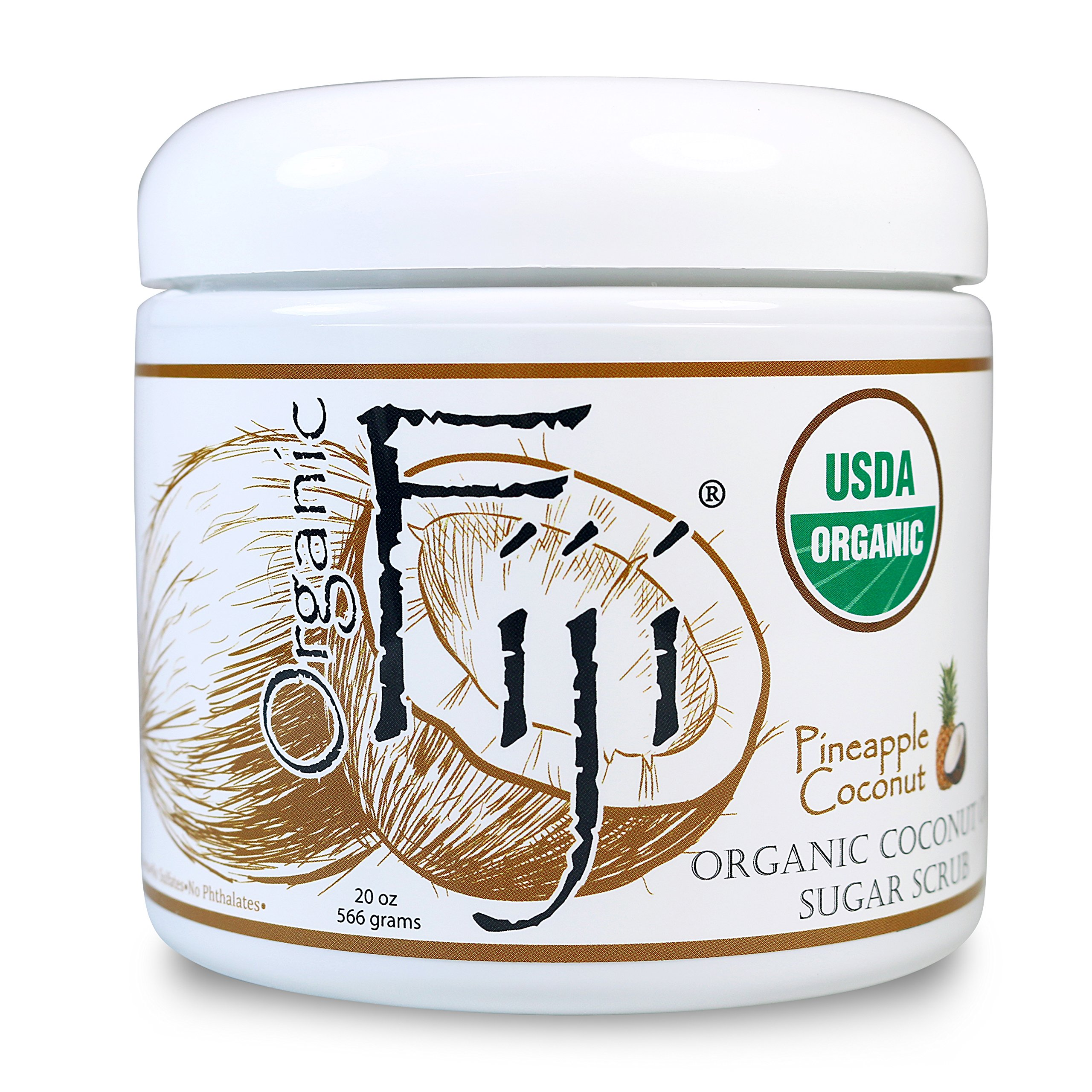 Organic Fiji PINEAPPLE COCONUT Sugar Scrub 20-Ounces for Face & Body by Organic Fiji
