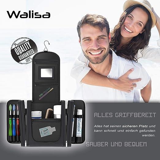 Neceser Walisa para colgar para caballero y señora, negro, neceser, bolsa de aseo, bolsa de viaje, bolsa de cosmética: Amazon.es: Equipaje