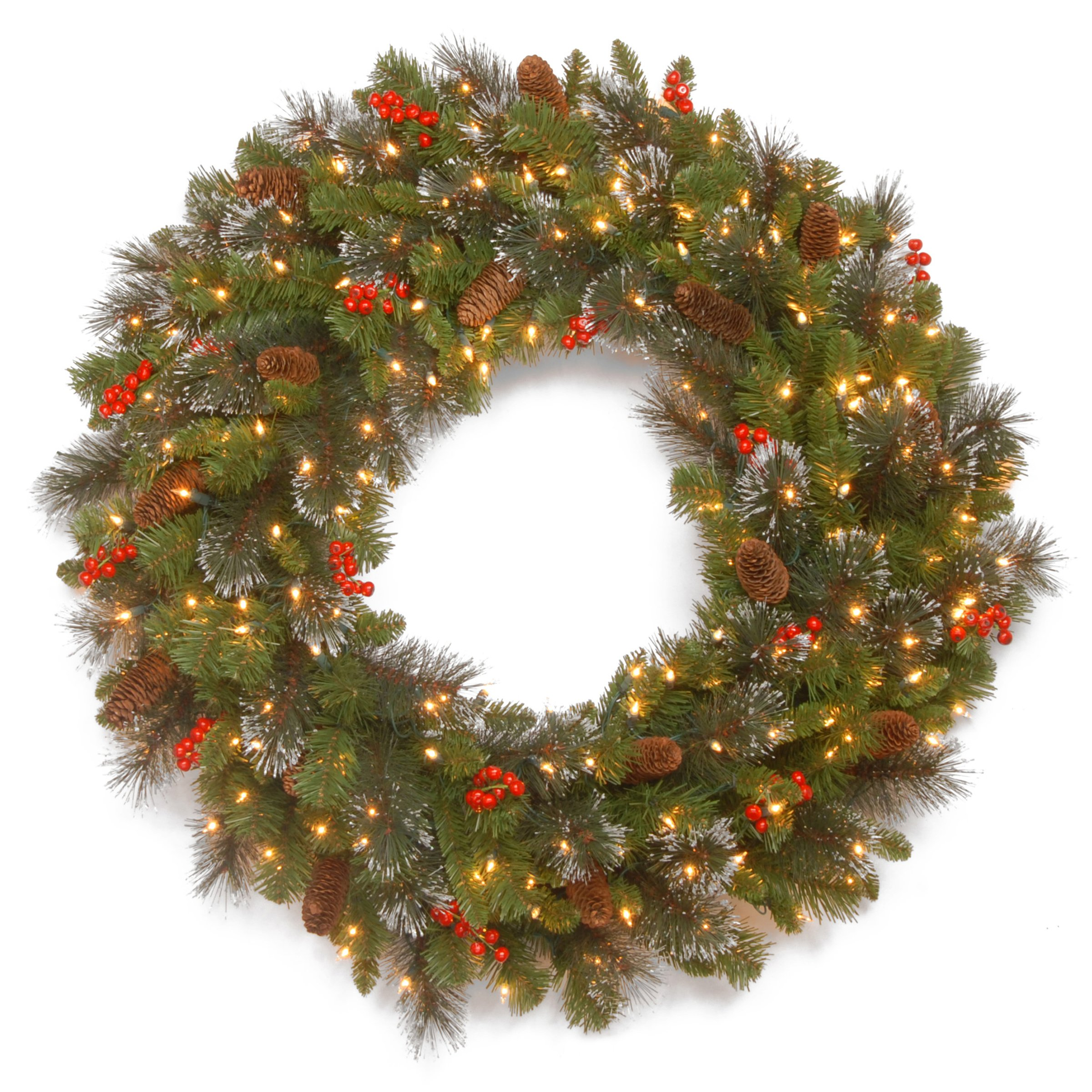 National Tree 30 Inch Crestwood Spruce Wreath with Cones, Glitter, Red Berries, Silver Bristle and 50 Battery Operated Warm White LED Lights (CW7-309L-30W-B1)