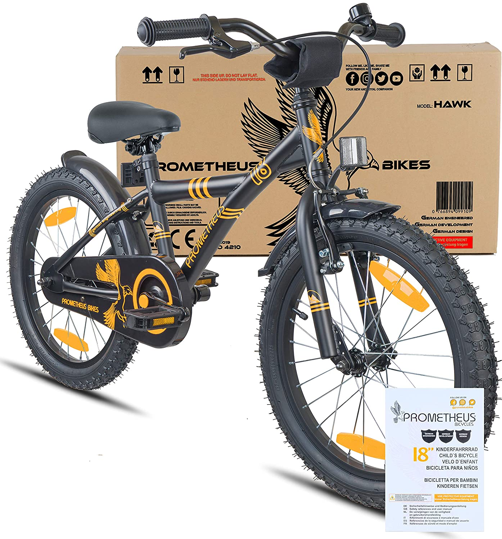 Prometheus Bicicleta Infantil niño y niña | 18 Pulgadas | Negro Mate Naranja | A Partir de 6 años | V-Brake y Freno de contrapedal | 18