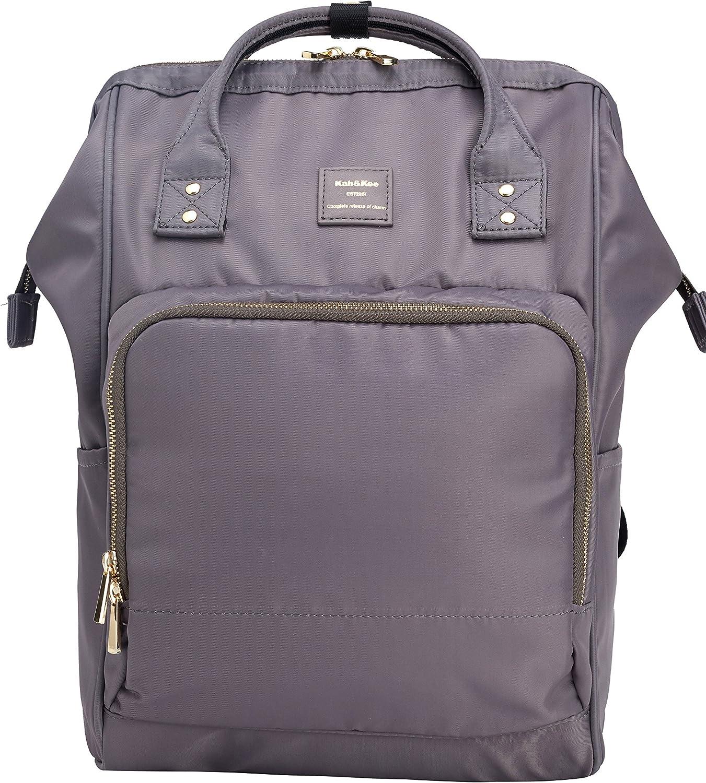 Kah&Kee Nylon Backpack Diaper Bag with Laptop Compartment Waterproof Work Travel School for Women Man (Dark Gray)