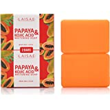 Papaya & Kojic Acid Whitening Soap (2 Bars/3.52 Oz) - Natural Brightening Formula For Face & Body, Cell Renewal And Nourishment For Firm, Youthful Complexion, Even Skin Tone & Dark Spots Elimination