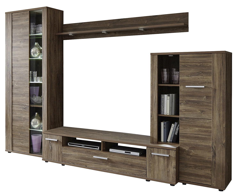 trendteam RU00254 Wohnwand Wohnzimmerschrank Akazie Dunkel Nachbildung, BxHxT 290 x 198 x 47 cm