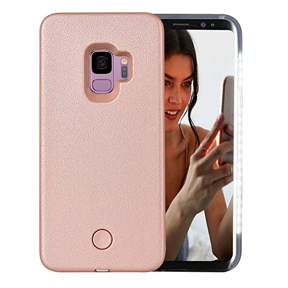 size 40 ed385 e11b9 Galaxy S9 Case, AUYOUWEI LED Illuminated Selfie Light Case Cover  [Rechargeable] Light Up Luminous Selfie Flashlight Cell Phone Case for  Samsung S9 ...