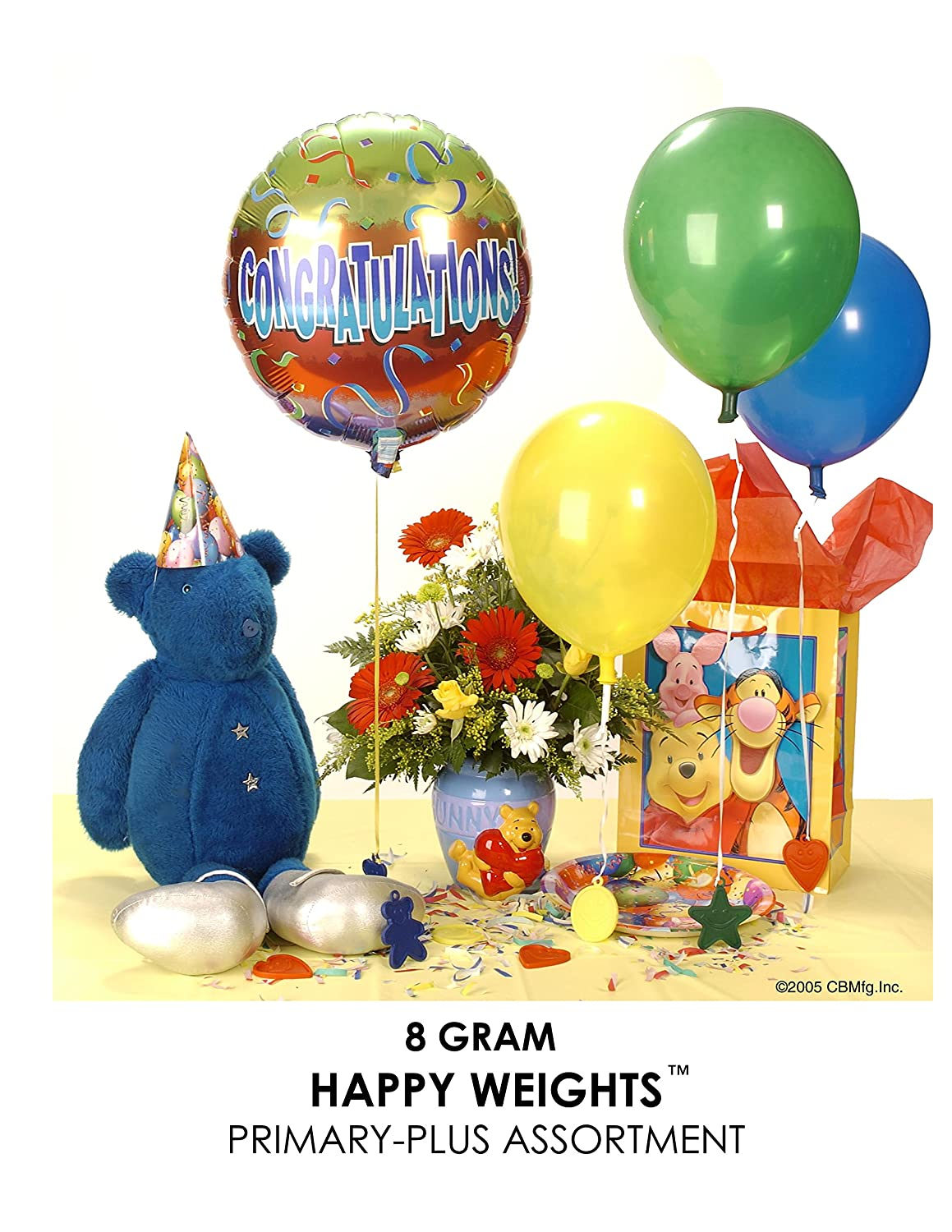 11215 Inc Creative Balloons Mfg Happy Weight 8 g Balloon Weights Primary-Plus Assortment 100 ct