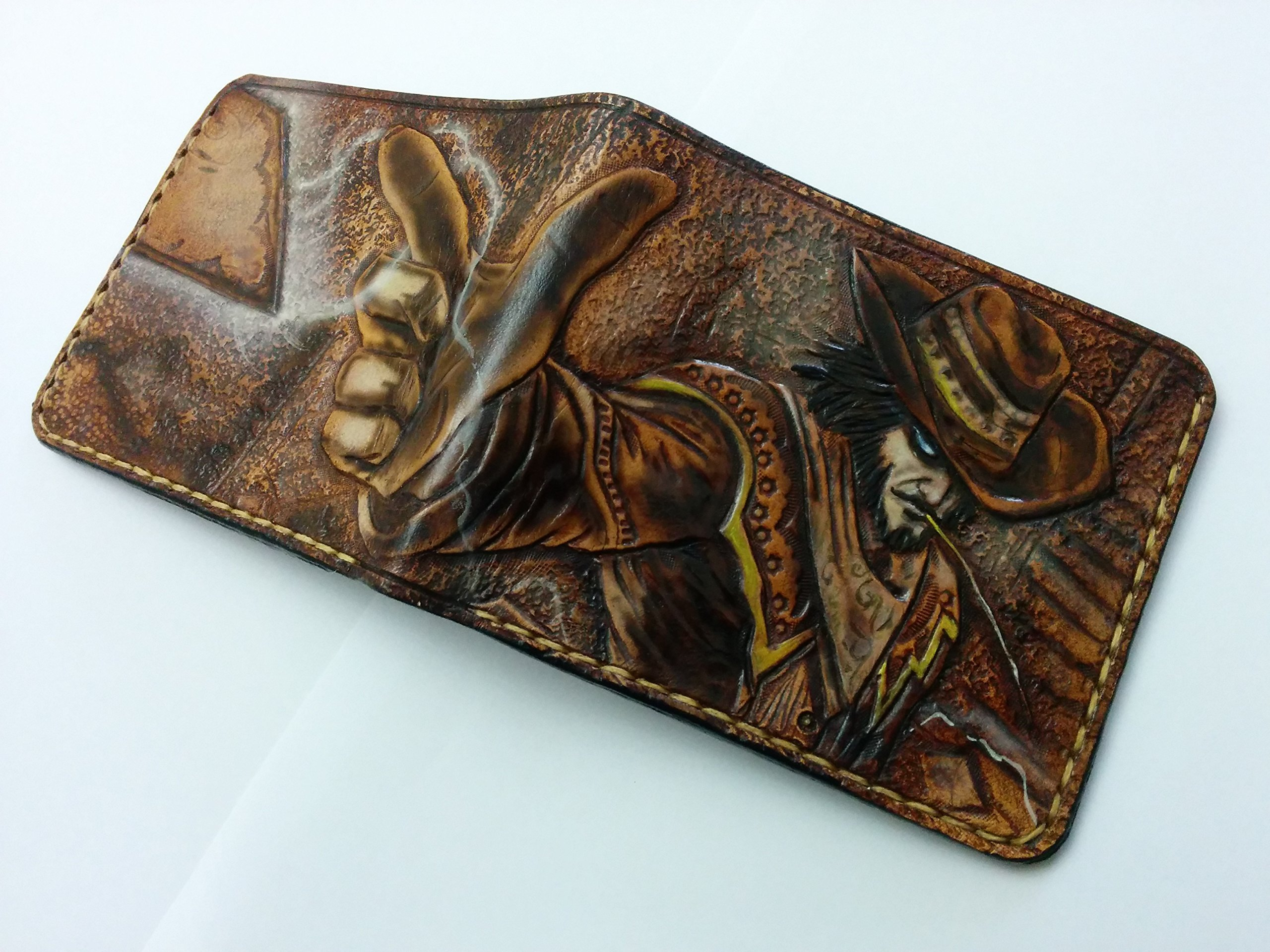 Men's 3D Genuine Leather Wallet, Hand-Carved, Hand-Painted, Leather Carving, Custom wallet, Personalized wallet, League of Legends, Twisted Fate, Cowboy