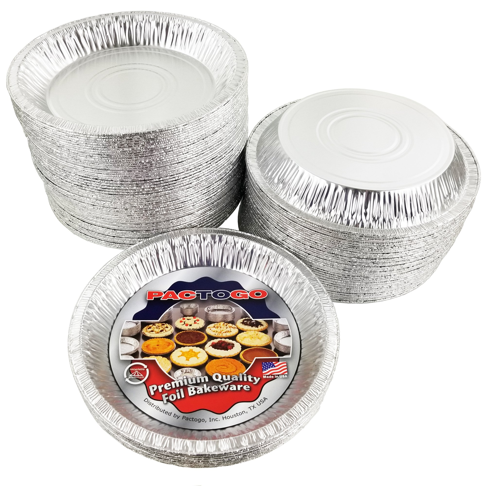 Pactogo Aluminum Foil Pie Pan (Actual Top-Out 9-5/8 Inches - Top-In 8-3/4 Inches - Vertical Depth 1-3/16 Inches) - Disposable Baking Tin Plates (Pack of 100) by PACTOGO (Image #5)
