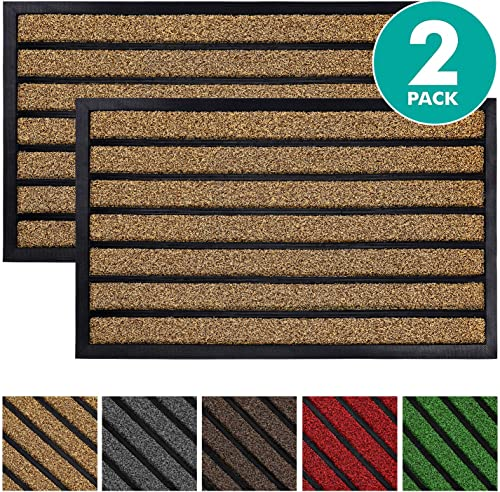 Olanly 2-Pack Original Durable Striped Door Mat Outdoors, Heavy Duty Doormat, Easy Clean, Low-Profile Mats for Entry, Garage, Patio, High Traffic Areas, 23X35, Striped Brown