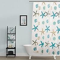 BSTT Rideaux de douche Imperméable Anti-moisissure PEVA étoile de mer Rideaux décoratifs de salle de bains pour la maison et l'hôtel