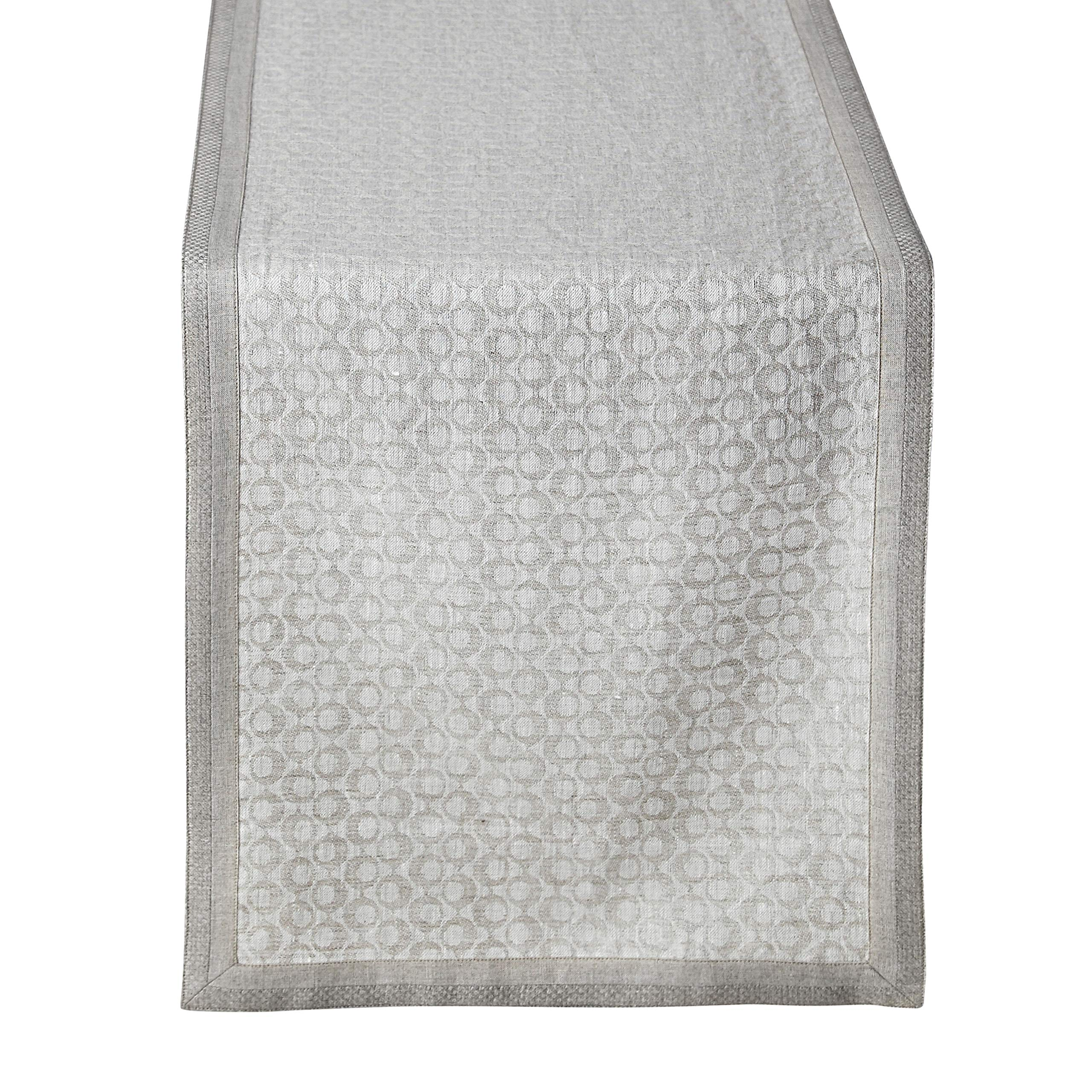 Solino Home 100% Pure Linen Table Runner Venus - 14 x 36 Inch Jacquard Table Runner - Natural Fabric, Handcrafted from European Flax Rectangular Table Runner