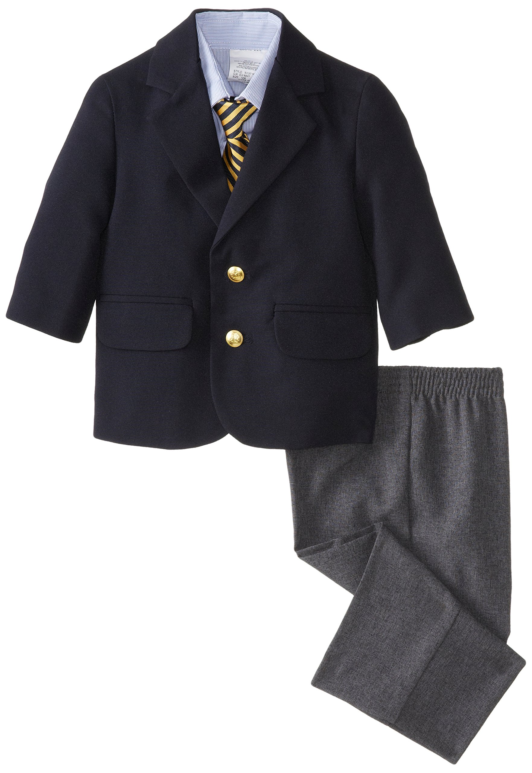 Nautica Boys' 4-Piece Suit Set with Dress Shirt, Tie, Jacket, and Pants, Classic Navy, 18 Months by Nautica
