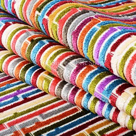 Red//Orange//Grey Stripe Fabric By The Metre