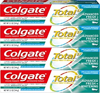 product image for Colgate Total Whitening Toothpaste, Advanced Fresh + Whitening Gel - 5.1 Ounce (4 Pack)