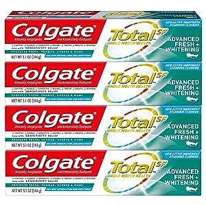 Colgate Total Whitening Toothpaste, Advanced Fresh + WhiteningGel, 5.1 Ounce (Pack of 4)