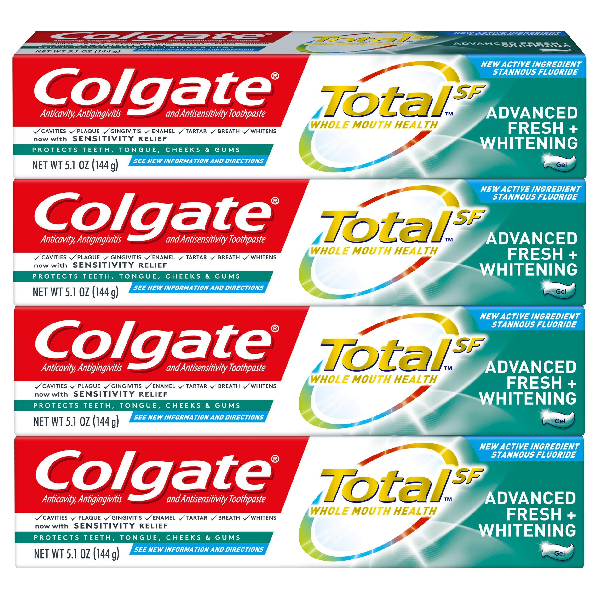 Colgate Total Advanced Fresh + Whitening Gel Toothpaste, 4 Count by Colgate (Image #1)