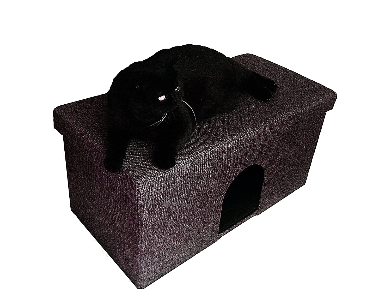 Sitzbank/Ottomane mit Katzenhöhle 76x38x38cm Kiwiland